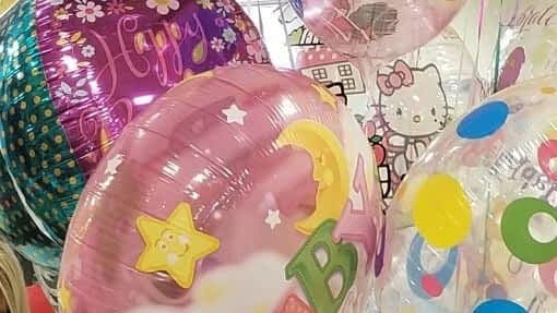 group of mylar balloons which can be refilled