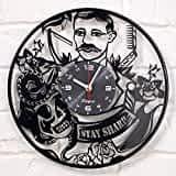 Laser Cut Retro Barber Vinyl Record Clock